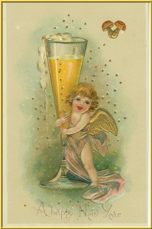 Though I can't be certain, this postcard is probably pre-WW I German--the lucky mushrooms give it away!