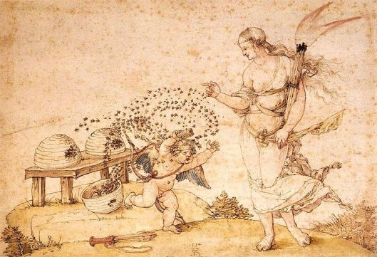 'Cupid the Honey Thief' by Albrecht Durer 15th century {{PD}}