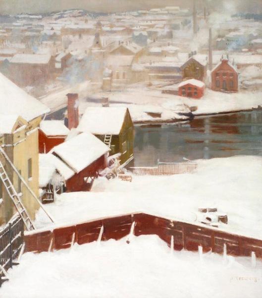 'The First Snow' Edelfelt pre-1905 {{PD-Art}}