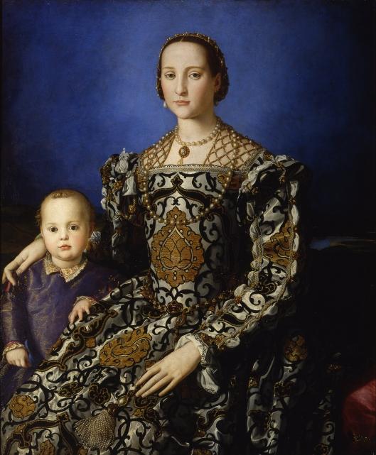 I love the colors and rendering of the fabric in this portrait of Eleonora of Toledo and her son Giovanni c1545 by Bronzino {{PD-Art}}