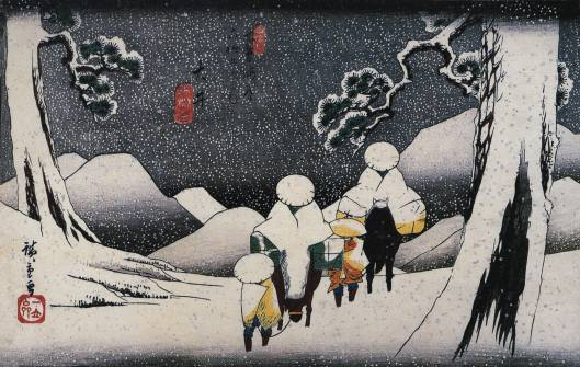 'Travelers on Horseback' Hiroshige early 19th century