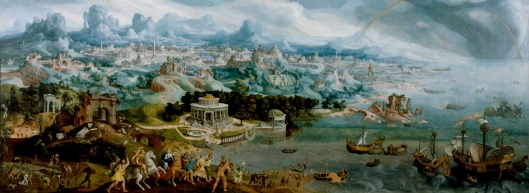 Busy weekend? You bet! 'Panorama with the Abduction of Helen Amidst the Wonders of the Ancient World' van Heemskerck 1535 {{PD}}
