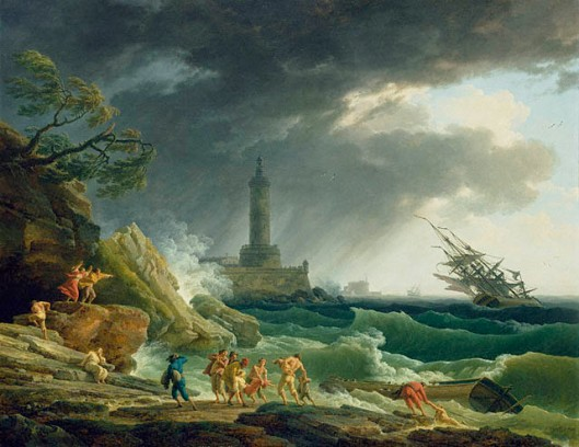 'A Storm on the Mediterranean Coast' by Vernet 1767 {{PD-Art}}