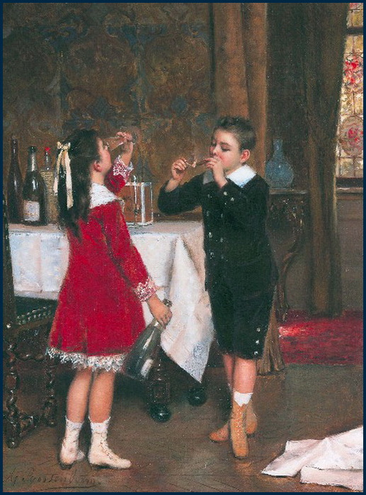 'Drinking Girl and Smoking Boy' Roosenboom {{PD-Art}}