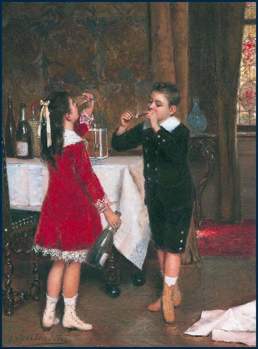 'Drinking Girl and Smoking Boy' Roosenboom {{PD-Art}}