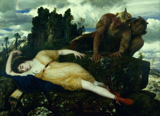'Sleeping Diana Watched By Two Fauns' by Arnold Bocklin c1877 {{PD-Art}}