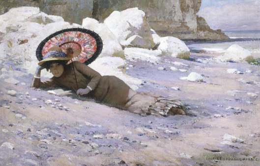 'Reading by the Shore' Charles Sprague Pearce 1883-85 {{PD-Art}}