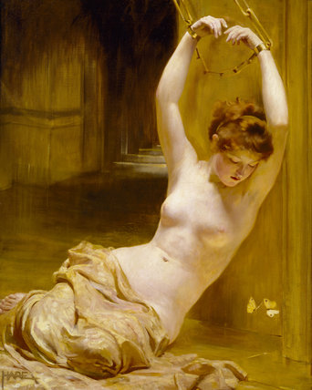 Venus will have her way with us, because we care. 'Gilded Cage' by George Hare pre-1933 {{PD-Art}}