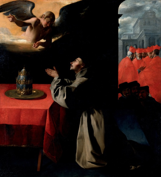 'The Prayer of St. Bonaventura About the Selection of the New Pope' Zubarán 1628 {{PD-Art}}