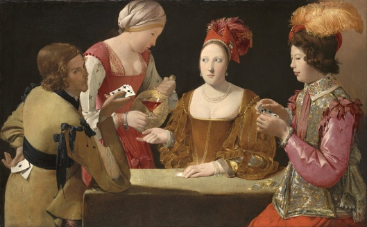 This is called 'The Cheat With the Ace of Clubs', so I don't know how satisfied they'll all be, in the end. By Georges de la Tour c1632 {{PD-Art}}