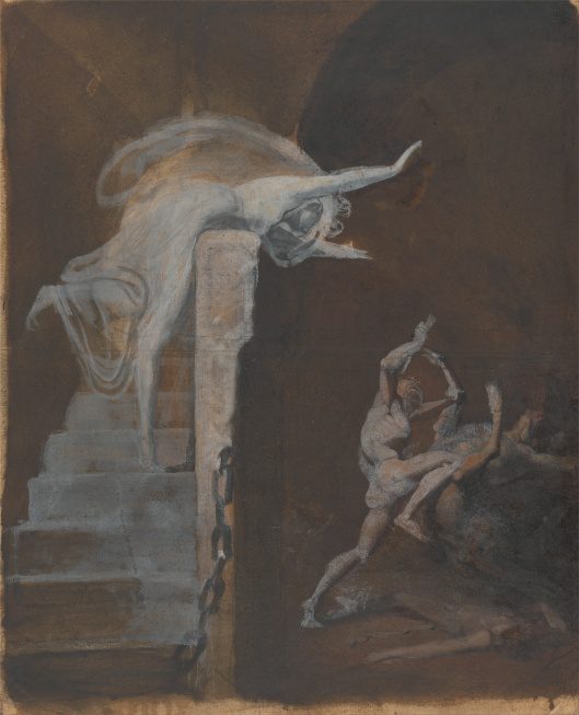 'Ariadne Watching the Struggle of Theseus With the Minotaur' by Henry Fuseli c1817 {{PD-Art}}