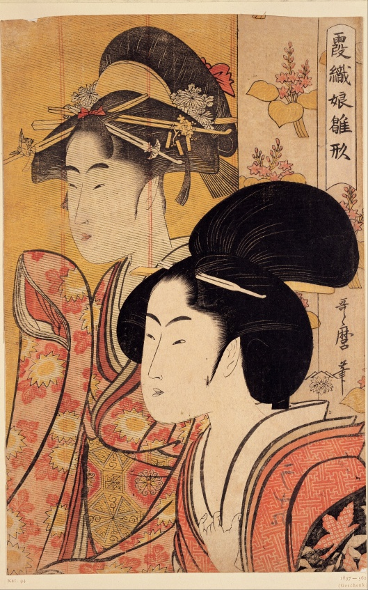 'Two Beauties With Bamboo' Utamaro c1795 {{PD-Art}}