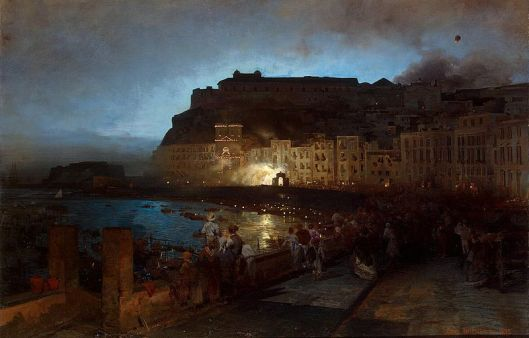 'Fireworks in Naples' Achenbach 1875 {{PD-Art}}