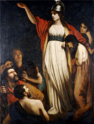 "Aries in female form: 'Queen Boudicea' by John Opie Several depictions of Boudicea showed her ""haranguing"" her troops; would they say that if she were a man? I think not."