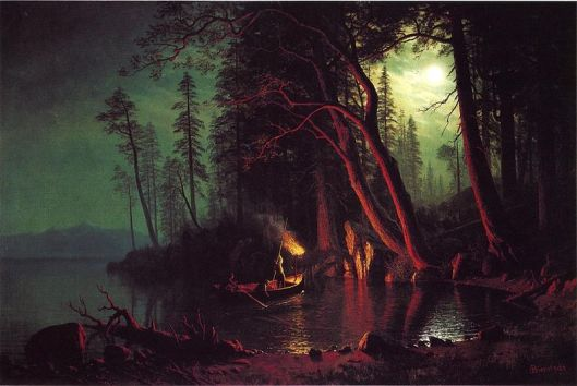 An Arian activity by firelight--and on a lake, it also sounds a note of Mercury, Chiron, Neptune, Saturn, Ceres, and the North Node, all currently in Water. 'Lake Tahoe, Spearfishing by Torchlight' by Albert Bierstadt 1875 {{PD-Art}}