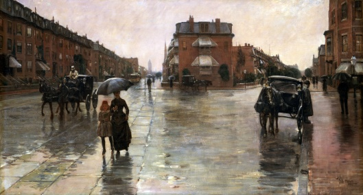 Another day, another time. 'Rainy Day, Boston' Childe Hassam 1885 {{PD-Art}}