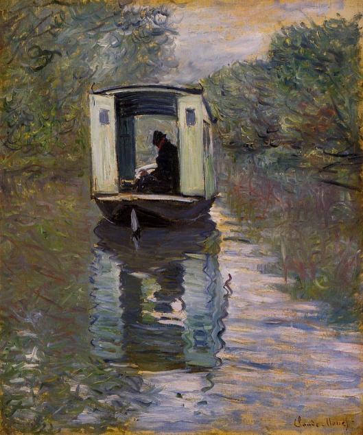'Le Bateau Atelier' Monet 1876 {{PD-Art}}