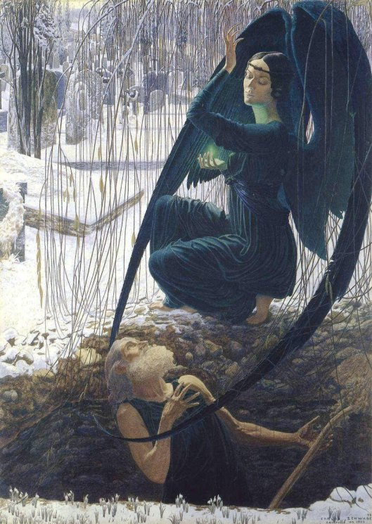Each of us will hold the key to something special today; for some this will presage the upcoming Lunar eclipse. Detail of 'Death and the Gravedigger' by Carlos Schwabe c1890s {{PD-Art}}