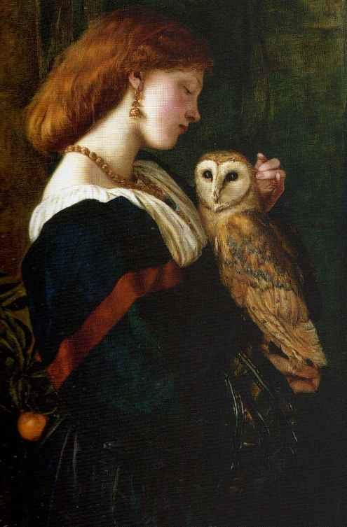 Here, let this tranquil picture of a woman and her owl soothe you. by Valentine Cameron Prinsep {{PD-Art}}