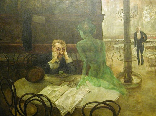Illusions might take on a life of their own today! 'The Absinthe Drinker' by Victor Oliva 1901 {{PD-Art}}