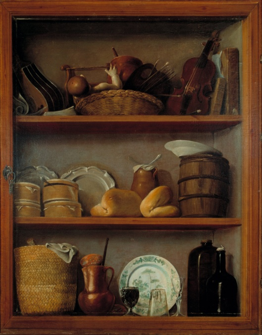 Time is kept in the bottle in the lower right hand corner, in this picture. 'Cupboard' by Antonio Perez de Aguilar {{PD-Art}}