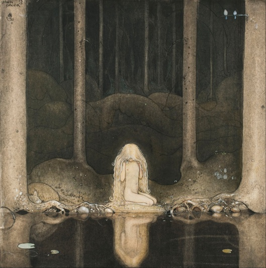Princess Tuvstarr Gazing Down Into the Dark Waters of the Forest Tarn' John Bauer 1913 {{PD-Art}}