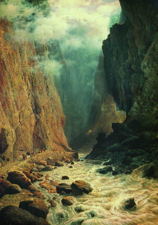 'Darial Gorge' Sudkovsky 1884 {{PD-Art}}