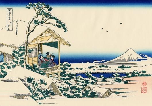 'Tea house at Koishikawa the Morning After a Snowfall' by Hokusai c1830 {{PD-Art}}