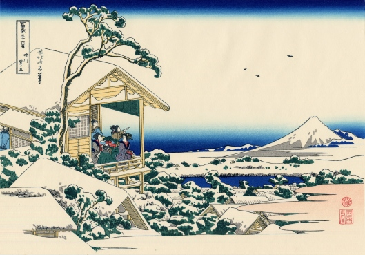 'Tea house at Koishikawa the Morning After a Snowfall' by Hokusai c1830 {{PD-Art}}