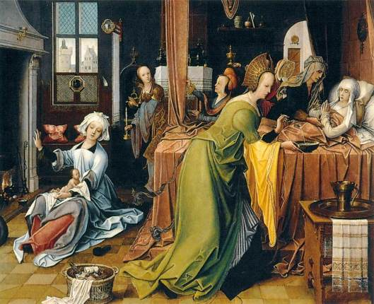 'Birth of the Virgin' Jan de Beer 1561 {{PD-Art}}