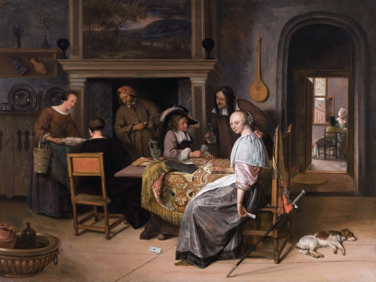 'The Card Players in an Interior' by Jan Steen c1660 {{PD-Art}}