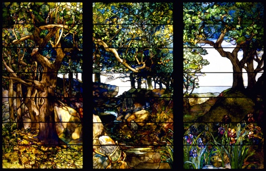 'A Wooded Landscape in Three Panels' Stained Glass by Louis Comfort Tiffany  created c1905 {{PD}}