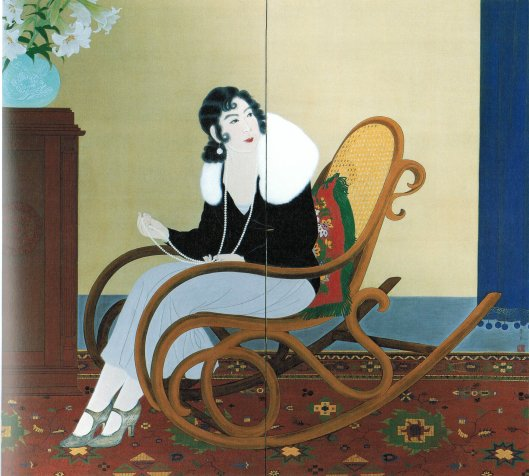 A painted screen showing Mrs. T, for whom things may not suit. By Wada Seika, 1932 Honolulu Museum of Art {{PD-Art}}