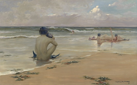 A very Neptunian idyll at the beach, by Rupert Bunny c1891, {{PD-Art}} in both the USA and country of origin, Australia