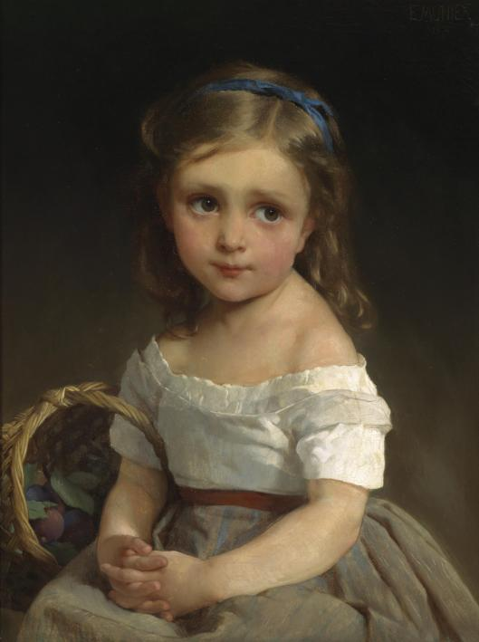 'Girl with a Basket' Emile Munier 1875 {{PD-Art}}