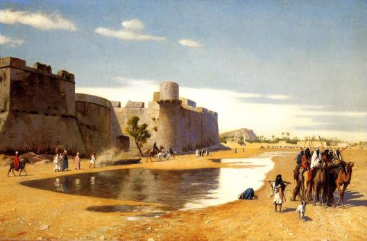 'An Arab Caravan Outside a Fortified Town in Egypt' Jean-Leon Gerome c1900 {{PD-Art}}