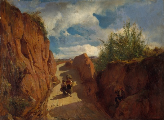 Be aware as you make your way--'The Path to Granollers' Ramon Marti i Alsina c1870 {{PD-Art}}