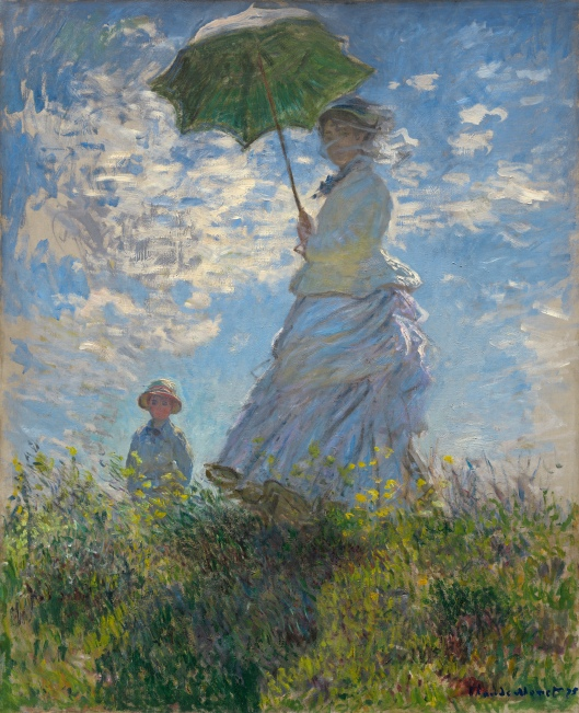 'Woman With A Parasol' (Madame Monet and her son)  Claude Monet 1875 {{PD-Art}}