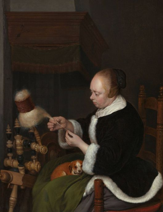 Not the kind of spinning I'm talking about, but still, the details! Gerard ter Borch 1650s {{PD-Art}}