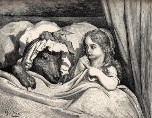 'Little Red Riding Hood and the Wolf' by Gustave Dore  pre-1883 {{PD-Art}}