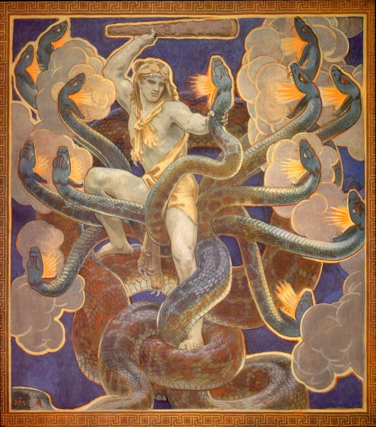 Hercules Fighting the Hydra by john Singer Sargent 1921 {{PD-Art}}