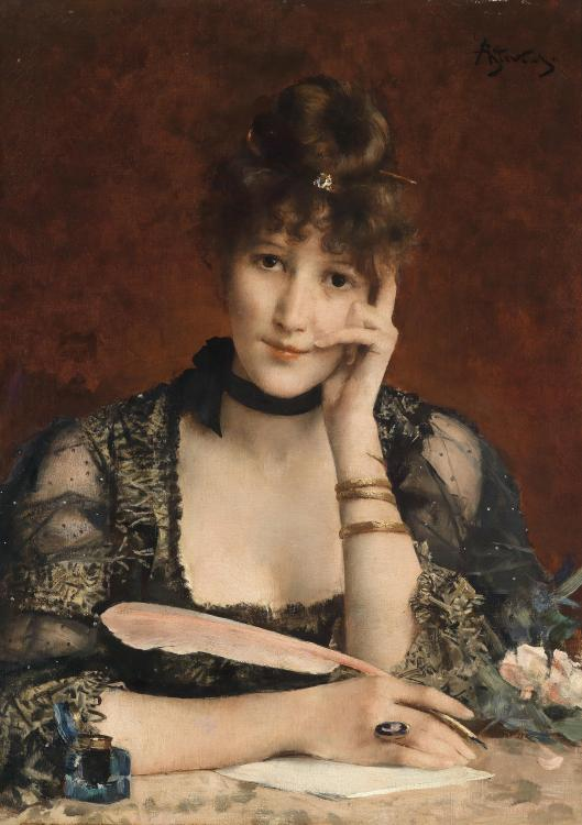 'The Letter' Alfred Stevens pre-1906 {{PD-Art}}
