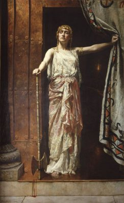 We needn't be a grim today as 'Clytemnestra, after the murder' John Collier 1882 {{PD}}