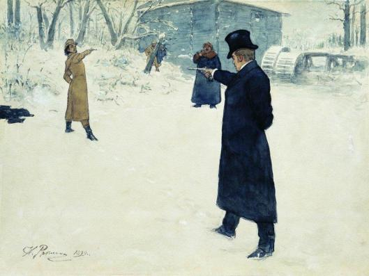 Eugene Onegin and Vladimir Lensky's duel by Ilya Repin 1899 {{PD-Art}}