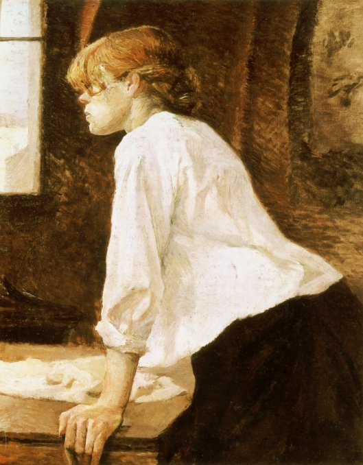 'The Laundress', a perfectly Capricornian image from a perfectly Venus in Capricorn guy--Toulouse-Lautrec 1884-1888 {{PD}}