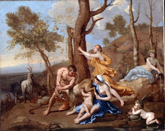 'The Nurture of Jupiter' Poussin {{PD-Art}}