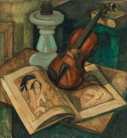 'Composition With Violin' by Dick Ket--Before 1940 {{PD-Art}}