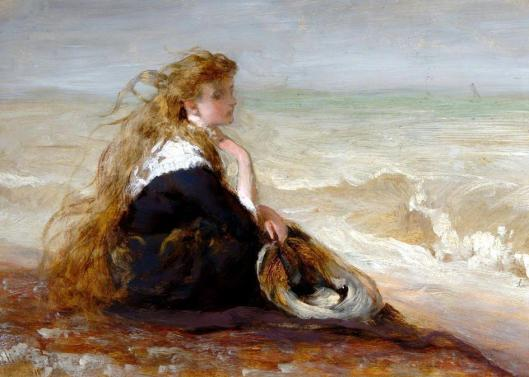 GE Hicks 'Girl by the Shore' 1878 {{PD-Art}}