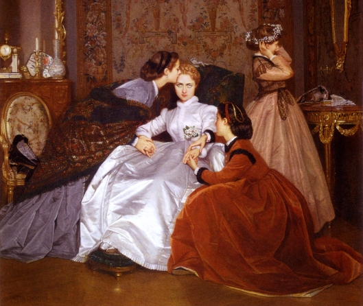 'The Reluctant Bride' Toulmouche 1866 {{PD-Art}}