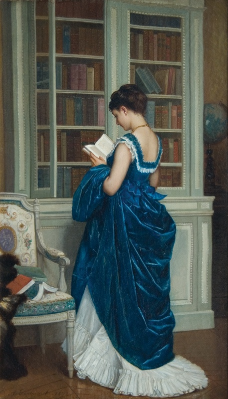 'In the Library' A. Toulmouche 1872 {{PD-Art}}